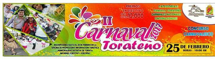 BASES DEL CONCURSO DE DANZAS Y COMPARSAS DE CARNAVAL TORATA 2017