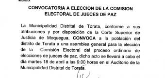 CONVOCATORIA A ELECCIÓN DE LA COMISIÓN ELECTORAL DE JUEZ DE PAZ