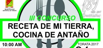 """BASES  DEL III  CONCURSO """"RECETA DE MI TIERRA, COCINA DE ANTAÑO"""""""