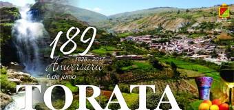 """PROGRAMA OFICIAL DE FESTEJOS POR EL 189° ANIVERSARIO DE ELEVACIÓN A """"VILLA HEROICA"""" DE TORATA."""