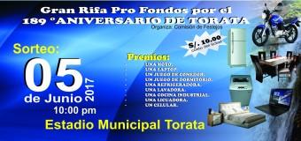 """RIFA PRO FONDOS DEL ANIVERSARIO DE ELEVACIÓN A """"VILLA HEOICA"""" DE TORATA SERÁ EL 05 DE JUNIO"""