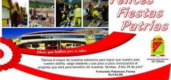 DESFILE DE FIESTAS PATRIAS EN TORATA, SERÁ EL 27 DE JULIO