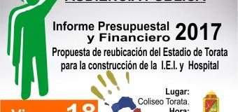 ALCALDE REALIZARÁ INFORME SOBRE EL ESTADO SITUACIONAL  FINANCIERO DE LA MUNICIPALIDAD DISTRITAL DE TORATA