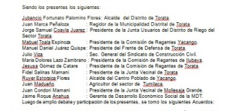 AUTORIDADES Y DIRIGENTES SOLICITAN INSTALACIÓN DE LA MESA DE DIALOGO EN TORATA