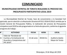 MUNICIPALIDAD DISTRITAL DE TORATA REALIZARA EL PROCESO DE PRESUPUESTO PARTICIPATIVO LOCAL 2019