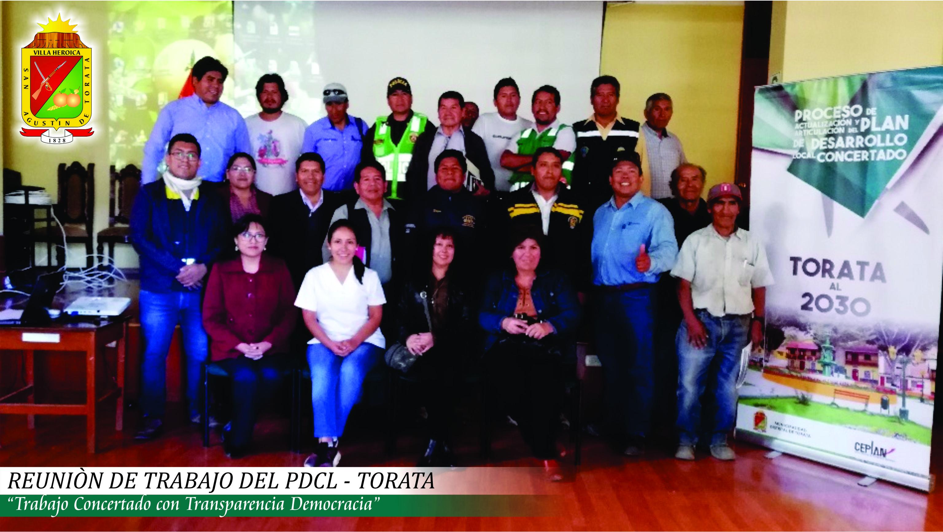 DESARROLLAN EL QUINTO TALLER DE TRABAJO PARA EL PROCESO DE ACTUALIZACION Y ARTICULACION DEL PDCL – TORATA AL 2030
