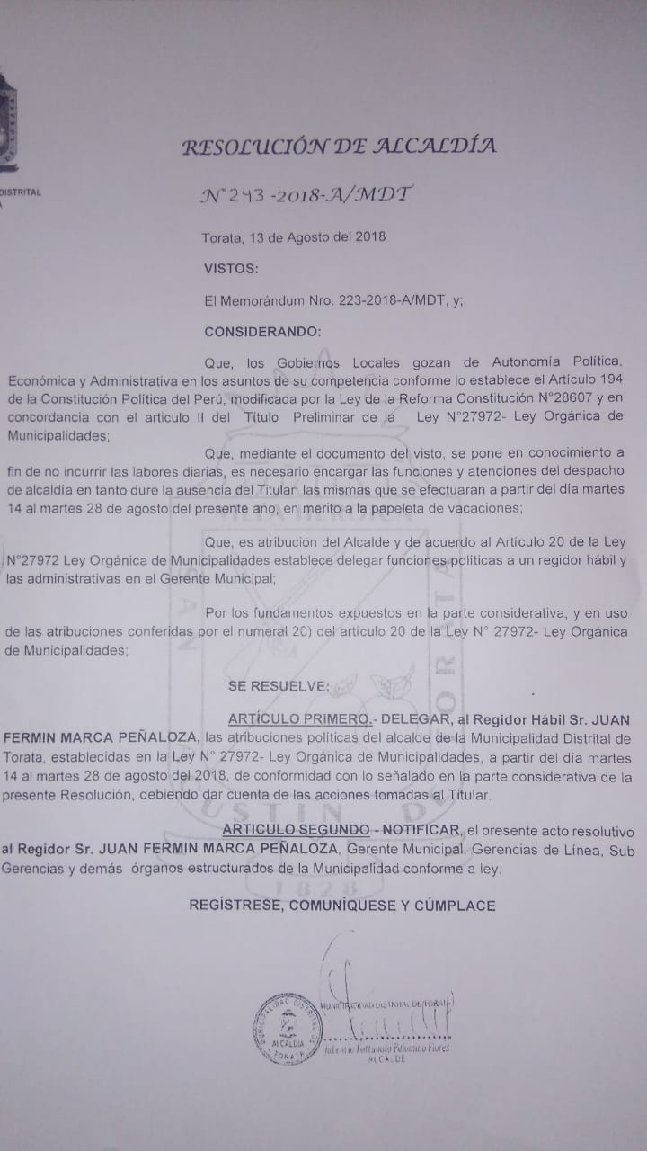 ALCALDE DISTRITAL DE TORATA SE AUSENTARÁ DURANTE CATORCE DÍAS SUS LABORES