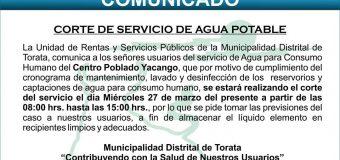 COMUNICADO DE CORTE DEL SERVICIO DE AGUA EN EL CENTRO POBLADO YACANGO