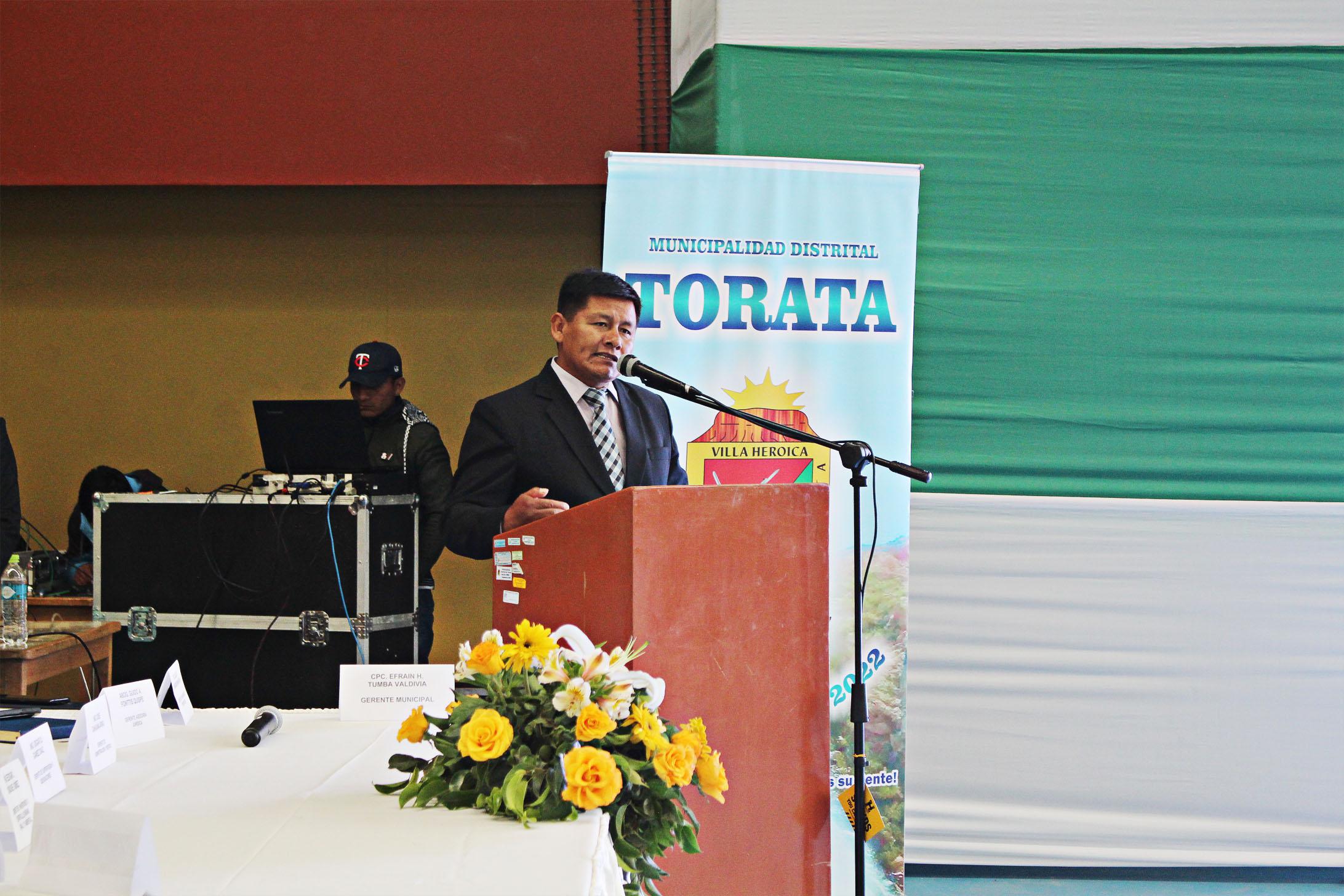 ALCALDE DE TORATA INFORMA A SU DISTRITO SOBRE ACCIONES EMPRENDIDAS AL LLEGAR A SUS 100 DÍAS DE GESTIÓN MUNICIPAL