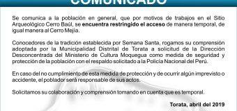 COMUNICADO DE RESTRICCIONES DE ASCENSO AL SITIO ARQUEOLÓGICO CERRO BAÚL EN SEMANA SANTA