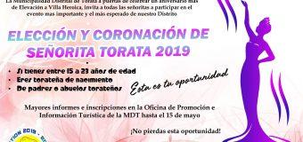 CONVOCATORIA AL CERTAMEN DE BELLEZA ELECCIÓN Y CORONACIÓN DE SEÑORITA TORATA 2019