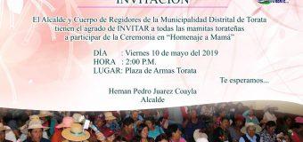 MUNICIPALIDAD DE TORATA BRINDARÁ CEREMONIA DE HOMENAJE A LAS MAMITAS DEL DISTRITO