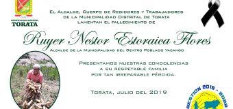 AUTORIDADES Y POBLACIÓN DE TORATA LAMENTAN EL FALLECIMIENTO DE RUYER N. ESTORAICA FLORES ALCALDE DE YACANGO