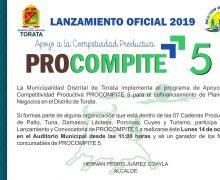MUNICIPALIDAD DE TORATA REALIZARÁ LANZAMIENTO Y CONVOCATORIA DEL FONDO CONCURSABLE PROCOMPITE 5