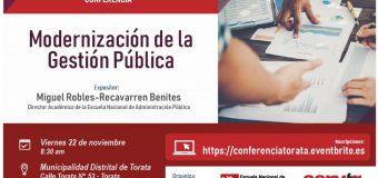 AUTORIDAD NACIONAL DEL SERVICIO CIVIL BRINDARA CONFERENCIA SOBRE MODERNIZACION DE LA GESTION PUBLICA EN TORATA
