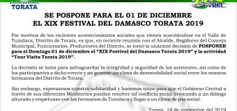 SE POSPONE PARA EL 01 DE DICIEMBRE EL XIX FESTIVAL DEL DAMASCO TORATA 2019