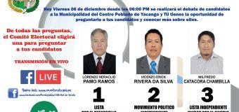 COMITÉ ELECTORAL REALIZARÁ DEBATE ENTRE LOS TRES CANDIDATOS PARA ALCALDE DE LA MUNICIPALIDAD DEL CENTRO POBLADO DE YACANGO