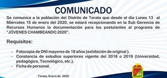 """MUNICIPALIDAD DE TORATA CONVOCA A PARTICIPAR DEL PROGRAMA MUNICIPAL """"JÓVENES CHAMBEANDO"""""""