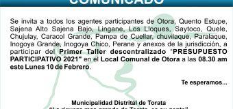 """PRIMER TALLER """"PRESUPUESTO PARTICIPATIVO 2021″ DESCENTRALIZADO"""