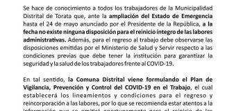 LABORES ADMINISTRATIVAS EN LA MDT SIN FECHA DE REINICIO ANTE LA AMPLIACIÓN DEL ESTADO DE EMERGENCIA POR EL COVID-19