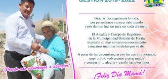 SALUDO INSTITUCIONAL DE LA MUNICIPALIDAD DISTRITAL DE TORATA POR EL DÍA DE LA MADRE