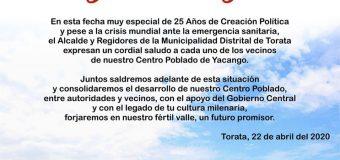 SALUDO INSTITUCIONAL POR EL 25° ANIVERSARIO DEL CENTRO POBLADO DE YACANGO