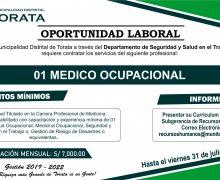 MUNICIPALIDAD DE TORATA REQUIERE CONTRATAR LOS SERVICIOS DE UN MEDICO OCUPACIONAL