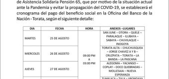 SE IMPLEMENTARÁ CRONOGRAMA DE COBRO DE PENSIÓN 65 EN TORATA PARA EVITAR LA PROPAGACIÓN DEL COVID-19