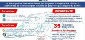 MUNICIPALIDAD DE TORATA Y PROGRAMA TRABAJA PERU LANZAN CONVOCATORIA PARA 35 PUESTOS LABORALES TEMPORALES