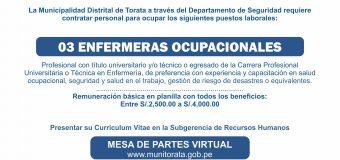 MUNICIPALIDAD DE TORATA REQUIERE CONTRATAR LOS SERVICIOS DE PROFESIONALES DE LA SALUD