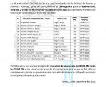 MUNICIPALIDAD DE TORATA COMUNICA LA RESTRICCCIÓN DEL SERVICIO DE AGUA POR MOTIVOS DE DESINFECCIONES, LIMPIEZA Y LAVADO DE RESERVORIOS Y CAPTACIONES DE AGUA