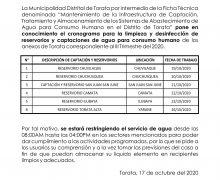 MUNICIPALIDAD DE TORATA COMUNICA CRONOGRAMA DE LIMPIEZA Y DESINFECCIÓN DE CAPTACIONES Y RESERVORIOS EN EL DISTRITO