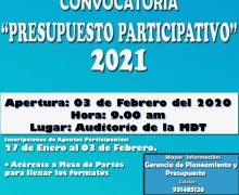 CONVOCAN A LOS AGENTES PARTICIPANTES A PARTICIPAR DEL PRESUPUESTO  PARTICIPATIVO 2021