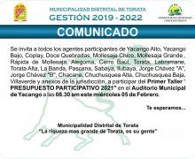 """Primer Taller """" PRESUPUESTO PARTICIPATIVO 2021″ Auditorio Municipal de Yacango a las 08.30 am este miércoles 05 de Febrero del 2020"""