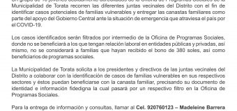 MUNICIPALIDAD DE TORATA FOCALIZARÁ HOGARES PARA LA ENTREGA DE CANASTAS FAMILIARES ANTE LAS EMERGENCIAS POR EL COVID-19