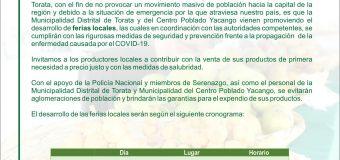 EN TORATA SE PROMOVERÁN FERIAS LOCALES PARA ABASTECER A LA POBLACIÓN ANTE LAS EMERGENCIAS POR EL CORONAVIRUS