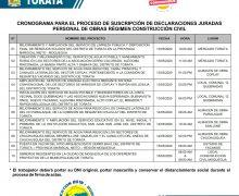 TRABAJADORES DE CONSTRUCCIÓN CIVIL DE OBRAS EN LA MUNICIPALIDAD DE TORATA LLEGAN A ACUERDOS ANTE LA SITUACIÓN DE EMERGENCIA POR EL COVID-19