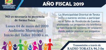 INVITACIÓN AL TALLER DE RENDICIÓN DE CUENTAS AÑO FISCAL 2019
