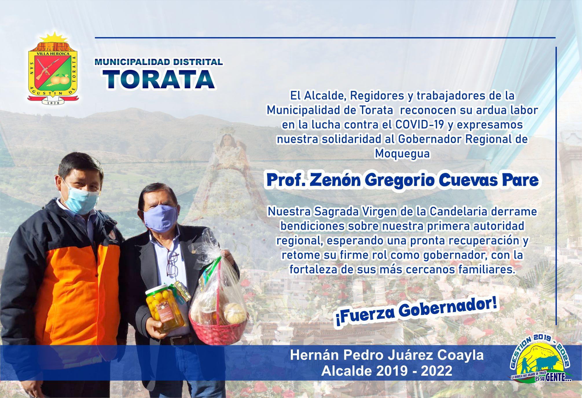 DESDE TORATA EXPRESAMOS UNA PRONTA RECUPERACION A NUESTRO GOBERNADOR REGIONAL DE MOQUEGUA